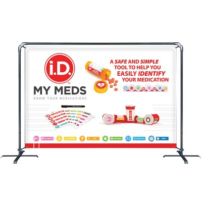 Banner Sling with 6' x 8' Graphic, Cross Base