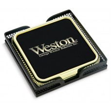 2 Gold Tone Coasters in Metal Mesh Stand with Color Hotstamp