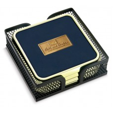 Set of 4 Square GTS in Metal Mesh Stand with Cast Medallion