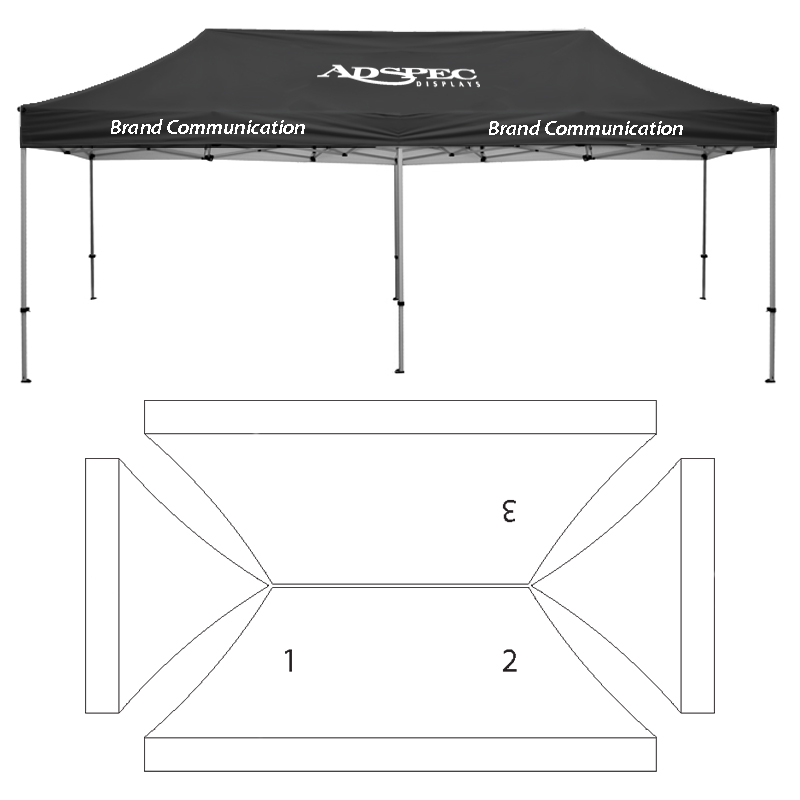 10\' x 20\' HD Canopy and Frame - 3 Imprint Locations
