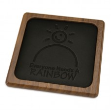 Walnut Leather Coaster with Hotstamp