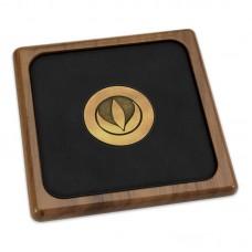 Walnut Leather Coaster with Medallion