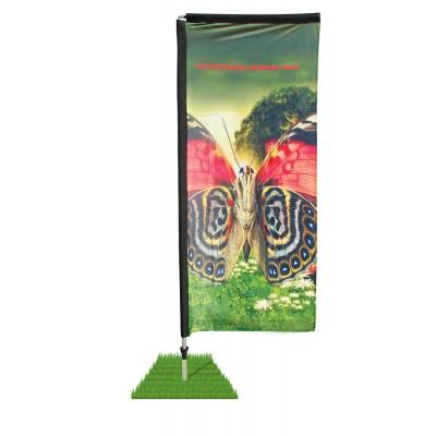 10' Double Sided Rectangle Wind Flag / Spike Base